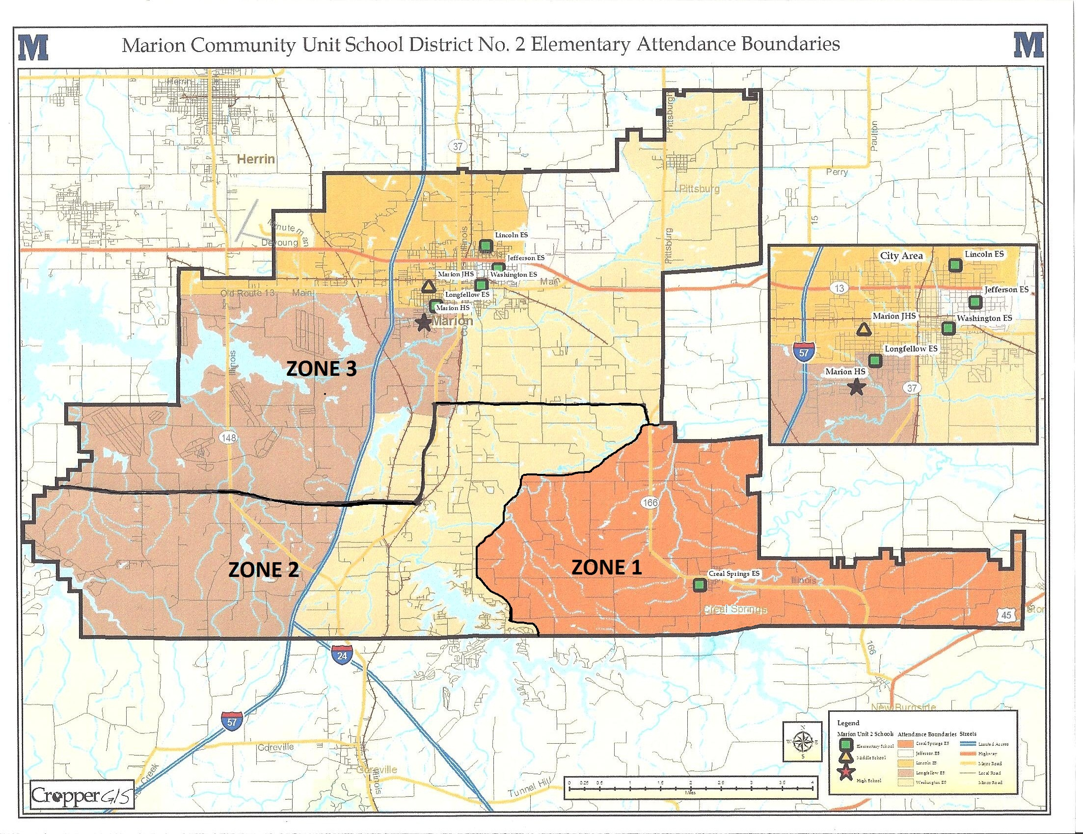 unit 2 boundary map with elementary areas adams school zones map