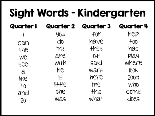 Kindergarten / Sight Words