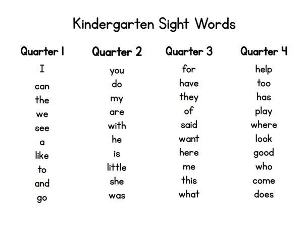 Mrs. Howell - Kindergarten / Sight Words