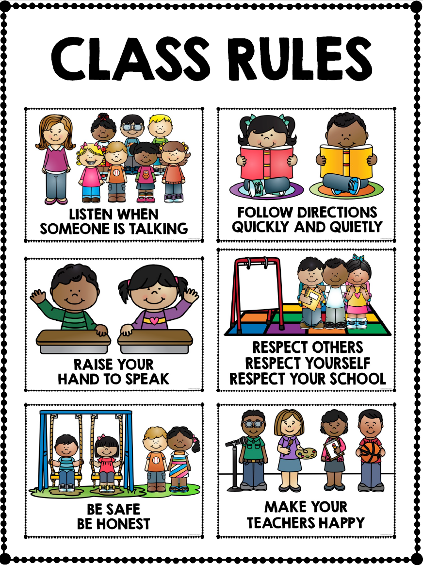 This is a graphic of Fan Kindergarten Classroom Rules Printable